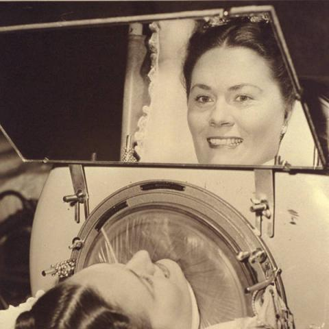 Jane Boyle Needham in an iron lung